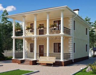 Дом 10.8 м × 8 м c четырехскатной крышей