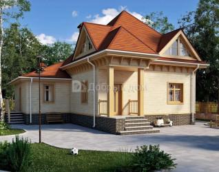 Дом 13.4 м × 12.2 м c мансардной, четырехскатной крышей