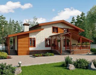 Дом 12.9 м × 10.9 м c двускатной крышей
