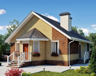 Дом 12.4 м × 9.7 м c двускатной крышей