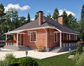 Дом 12.4 м × 10.6 м c четырехскатной крышей
