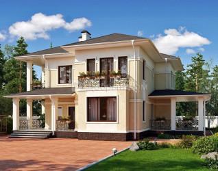 Дом 15.8 м × 13.3 м c четырехскатной крышей