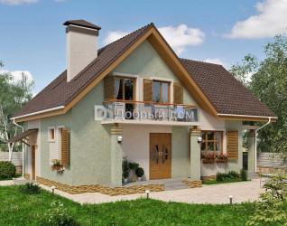 Дом 12.6 м × 8.4 м c двускатной, мансардной крышей