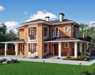 Дом 13.5 м × 13 м c четырехскатной крышей