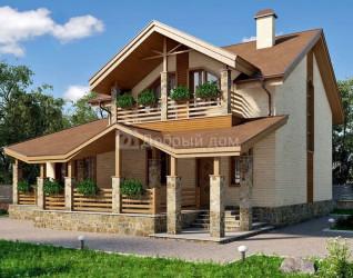 Дом 13.3 м × 10.1 м c двускатной крышей