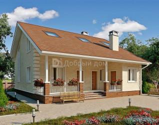 Дом 11.7 м × 11.7 м c двускатной крышей