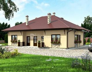 Дом 15.5 м × 11.8 м c четырехскатной крышей