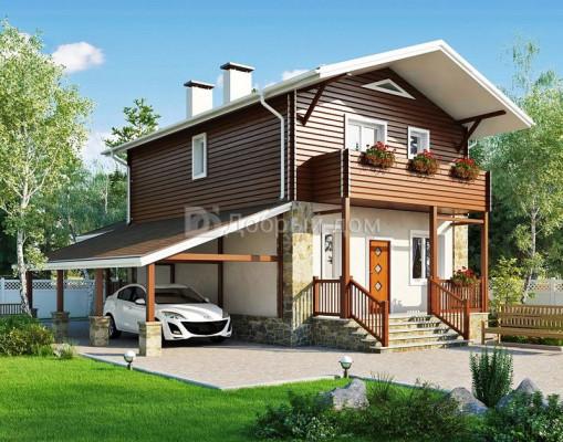 Дом 9.8 м × 6.9 м c двускатной крышей
