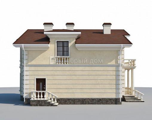Дом 12.1 м × 11.5 м c двускатной, мансардной крышей