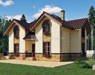 Дом 12.8 м × 11 м c четырехскатной крышей