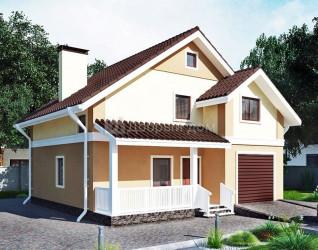 Дом 10 м × 9.6 м c двускатной крышей
