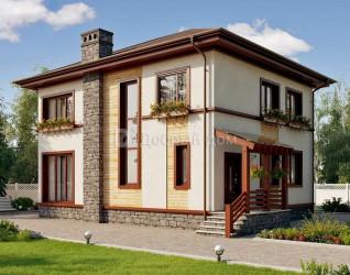 Дом 14.2 м × 10.8 м c четырехскатной крышей