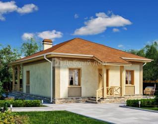 Дом 13 м × 9 м c четырехскатной крышей