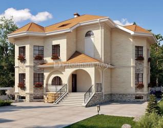 Дом 20.3 м × 17.5 м c четырехскатной крышей