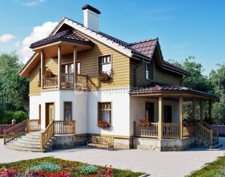 Дом 13.8 м × 11.3 м c двускатной крышей