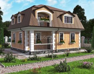 Дом 10.5 м × 8.8 м c мансардной крышей