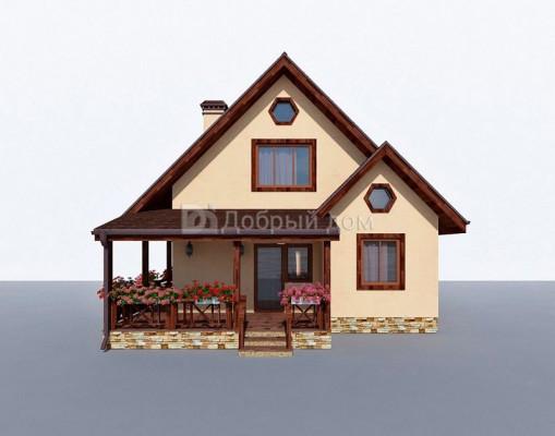 Дом 8.8 м × 7.8 м c двускатной крышей