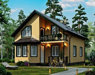 Дом 10 м × 8 м c двускатной крышей
