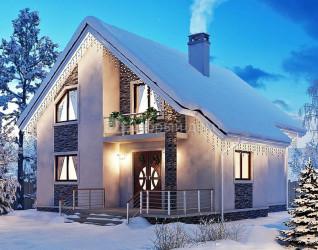 Дом 12.5 м × 10.4 м c двускатной крышей