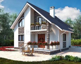 Дом 11.8 м × 10.4 м c двускатной крышей