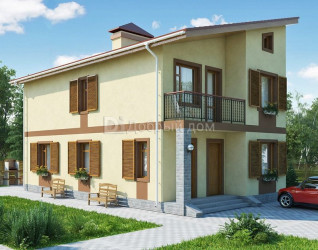 Дом 13.1 м × 7.5 м c односкатной крышей
