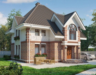 Дом 12.3 м × 9.8 м c четырехскатной крышей