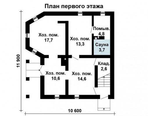 Дом 10.6 м × 10.4 м c мансардной крышей