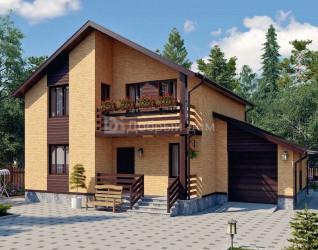 Дом 13.3 м × 10 м c двускатной крышей