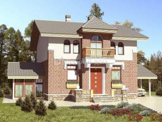 Дом 11.9 м × 8.4 м c двускатной крышей