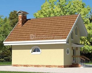 Дом 8.6 м × 4.2 м c мансардной, двускатной крышей