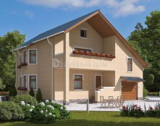 Дом 12 м × 12 м c двускатной крышей