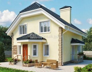 Дом 11.3 м × 10.06 м c мансардной крышей