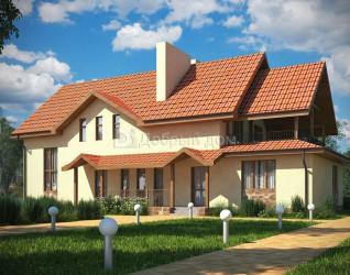 Дом 19.3 м × 8.8 м c двускатной крышей