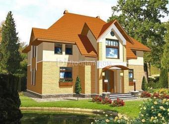 Дом 13.8 м × 12.6 м c мансардной крышей