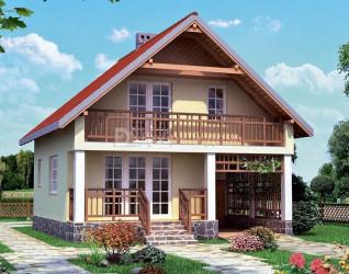 Дом 8.5 м × 8.4 м c двускатной крышей