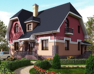 Дом 11.61 м × 9.26 м c мансардной крышей