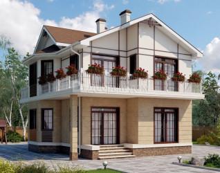 Дом 8.8 м × 8.3 м c мансардной крышей