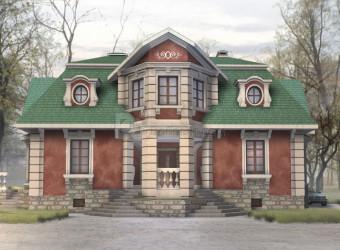 Дом 16.5 м × 16.2 м c мансардной крышей