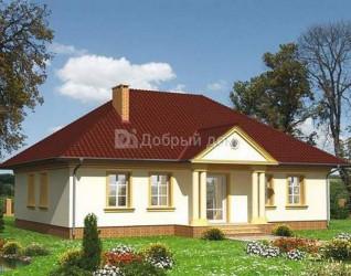 Дом 14.2 м × 9.9 м c четырехскатной крышей