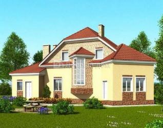 Дом 14.9 м × 10.1 м c мансардной крышей