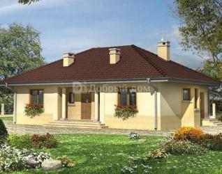 Дом 15.1 м × 9.6 м c четырехскатной крышей