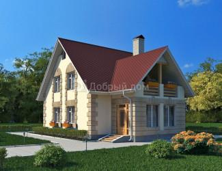 Дом 12.5 м × 9.62 м c двускатной крышей