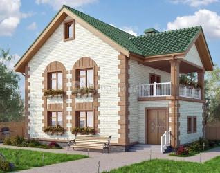 Дом 12.5 м × 9.6 м c двускатной крышей