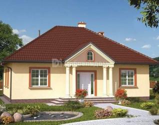 Дом 12.8 м × 9.8 м c четырехскатной крышей