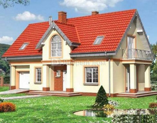 Дом 13.5 м × 8.6 м c двускатной крышей