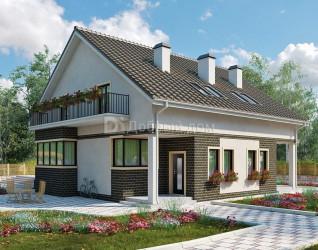 Дом 14.9 м × 14.8 м c двускатной крышей