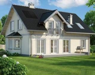 Дом 13.9 м × 9.3 м c двускатной крышей