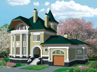 Дом 18.49 м × 15.64 м c мансардной крышей