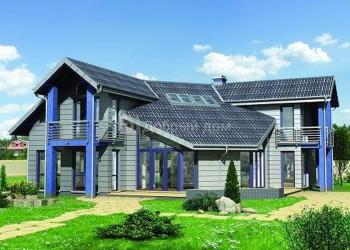 Дом 15.9 м × 15.7 м c мансардной крышей