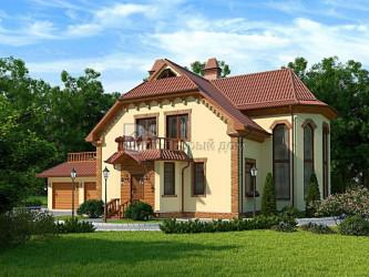 Дом 12.8 м × 10 м c мансардной крышей